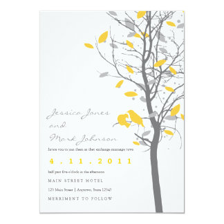 Yellow Love Birds in Tree with Gray Leaves 13 Cm X 18 Cm Invitation Card