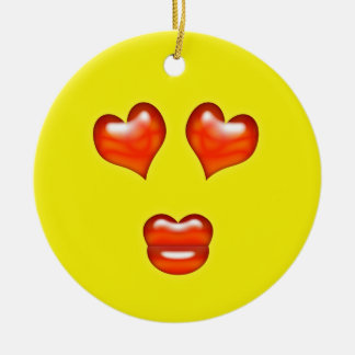 Yellow Love Emoji Custom Name Ceramic Ornament