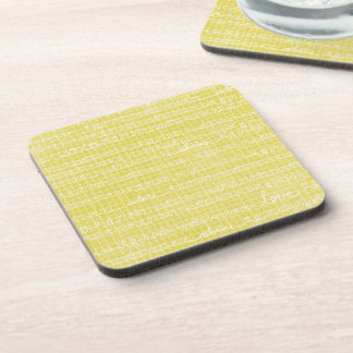 Yellow Love Words Coasters Hot Cold Drinks