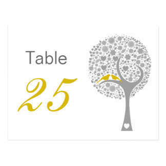 Yellow Lovebirds Whimsical Wedding table numbers Postcard