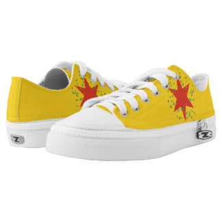 Yellow low top lace up sneakers Rasta Colors