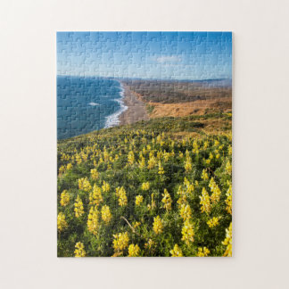 Yellow Lupine Above Point Reyes Beach At Point Jigsaw Puzzle