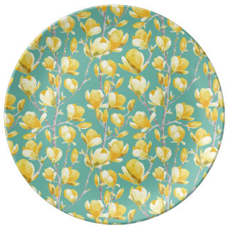 Yellow Magnolia Spring Bloom III Plate
