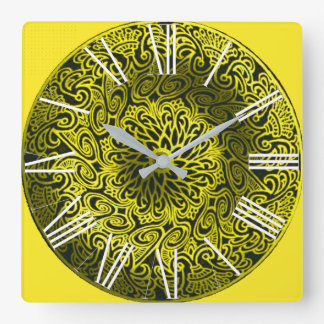 YELLOW MANDALA SQUARE WALL CLOCK