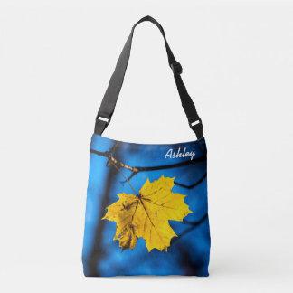Yellow Maple Leaf On Blue Crossbody Bag