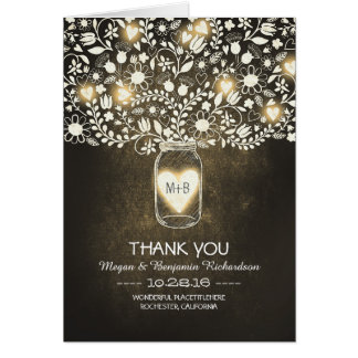 Yellow mason jar floral wedding thank you card
