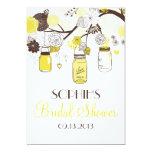 Yellow Mason Jars Floral Bridal Shower Invitation