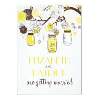 Yellow Mason Jars Floral Summer Wedding Invitation