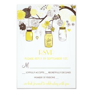 Yellow Mason Jars Summer Wedding Floral RSVP Card 9 Cm X 13 Cm Invitation Card