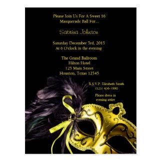 Yellow Masquerade Ball Sweet Sixteen Birthday Postcard