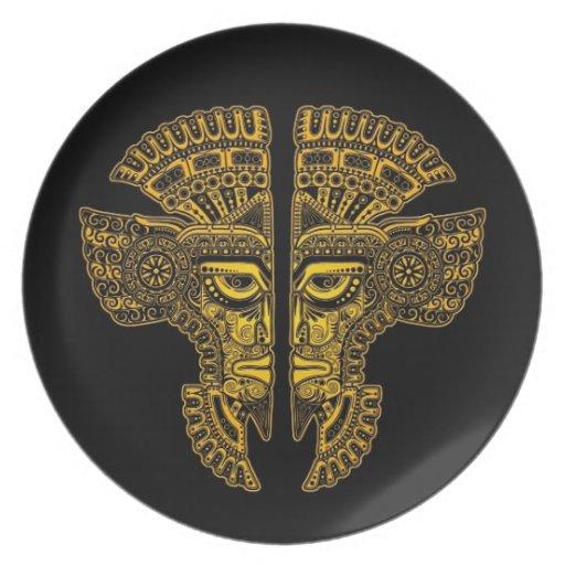 Yellow Mayan Twins Mask Illusion on Black Plate