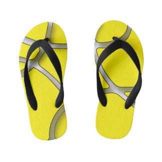 Yellow Maze Custom Flip Flops, Kids Thongs