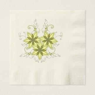 yellow mehndi flowers disposable napkin