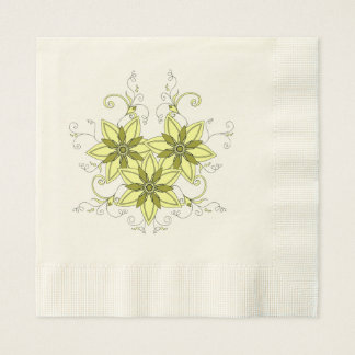 yellow mehndi flowers paper napkins