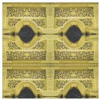 Yellow Metalwork Repeating Design Printed Fabric