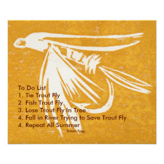 """Yellow Midge Trout Fly To Do List"" Wet Fly Poster"