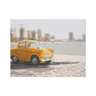 Yellow Miniature Car with City Background Canvas