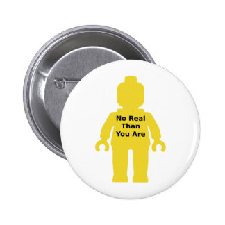 Yellow Minifig with 'NO REAL THAN YOU ARE' Slogan Pins
