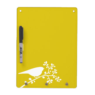 Yellow Mod Single Bird and Berries Dry Erase Whiteboard