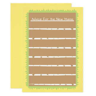 Yellow Moder Bird Baby Shower Advice For Mom Cards