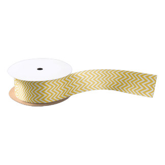 Yellow Modern Chevron Stripes Satin Ribbon