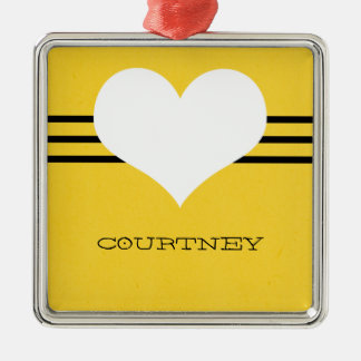Yellow Modern Heart Ornament