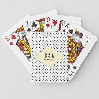 Yellow Modern Polka Dots Wedding Playing Cards