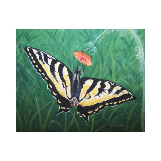 Yellow Monarch Butterfly on flower life painting Stretched Canvas Print