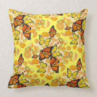 YELLOW MONARCH BUTTERFLY  & ORANGES MARMALADE CUSHION