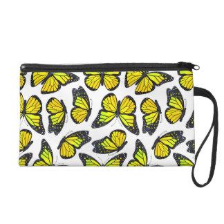 Yellow Monarch Butterfly Pattern Wristlet Purse