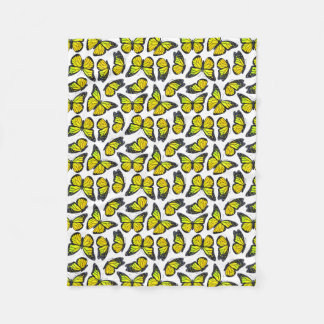 Yellow Monarch Butterfly Pattern Fleece Blanket