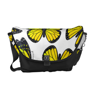 Yellow Monarch Butterfly Pattern Messenger Bags