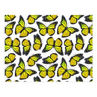 Yellow Monarch Butterfly Pattern Postcard