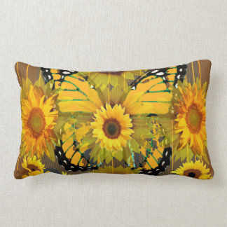 YELLOW MONARCH BUTTERFLY SUNFLOWER ABSTRACT LUMBAR CUSHION