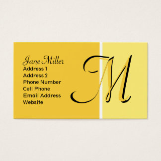 yellow monogram business card