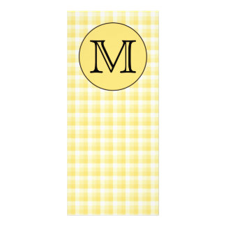 Yellow Monogram. Custom Letter and Check Pattern. Personalized Rack Card