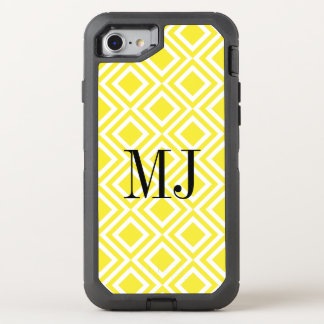 Yellow Monogram Diamond Geometric Pattern OtterBox Defender iPhone 8/7 Case