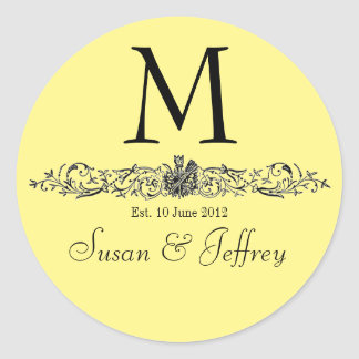 Yellow Monogram Logo Names Date Wedding Label Round Sticker