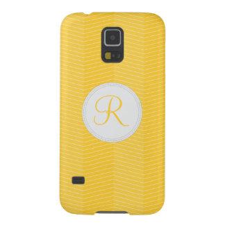 Yellow Monogram Thin Chevron Pattern Galaxy S5 Case