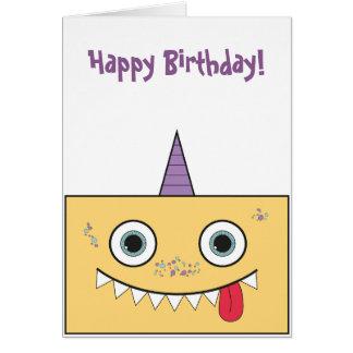 Yellow Monster Birthday Card