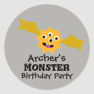 Yellow Monster Birthday Party Stickers