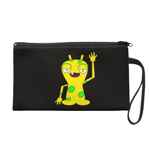 Yellow Monster with Green Spots Waving Hello Wristlet Clutches