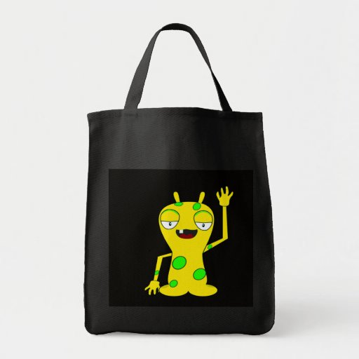 Yellow Monster with Green Spots Waving Hello Canvas Bag