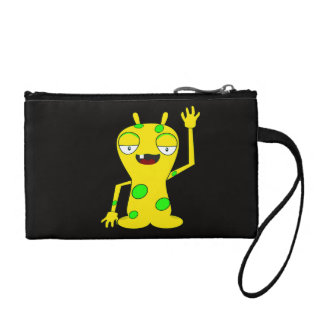 Yellow Monster with Green Spots Waving Hello Coin Purse