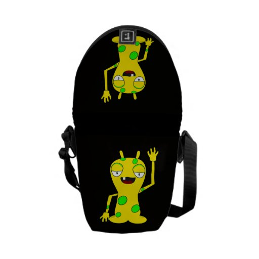 Yellow Monster with Green Spots Waving Hello Courier Bag