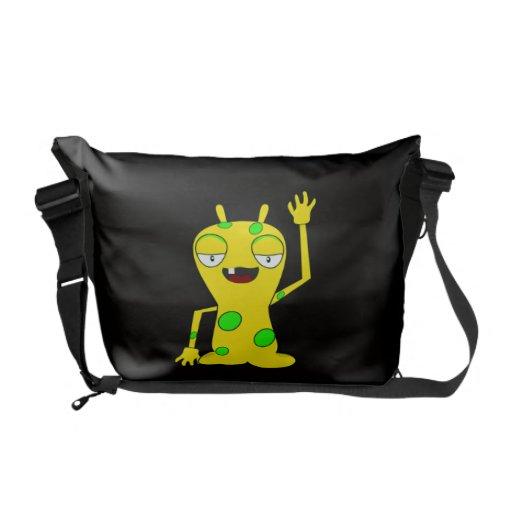 Yellow Monster with Green Spots Waving Hello Messenger Bag