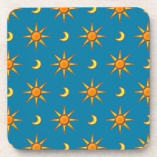 Yellow moon and sun pattern illustration drink coaster