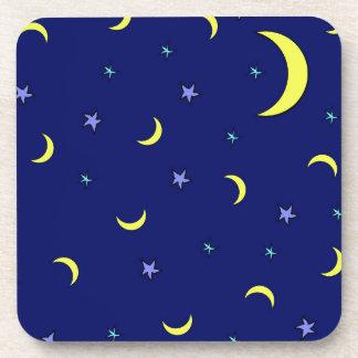 Yellow Moon Blue Night Stars Coasters