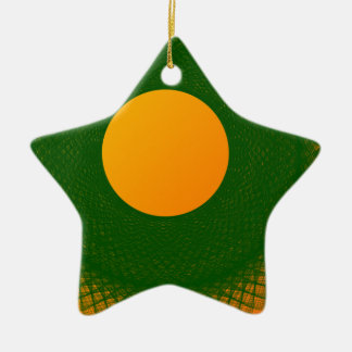 yellow moon in green ceramic star decoration