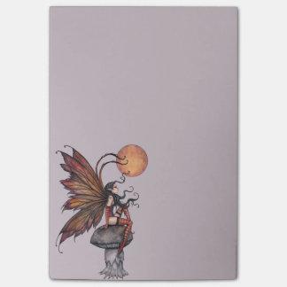 Yellow Moon of Autumn Fairy Fantasy Art Post-it Notes
